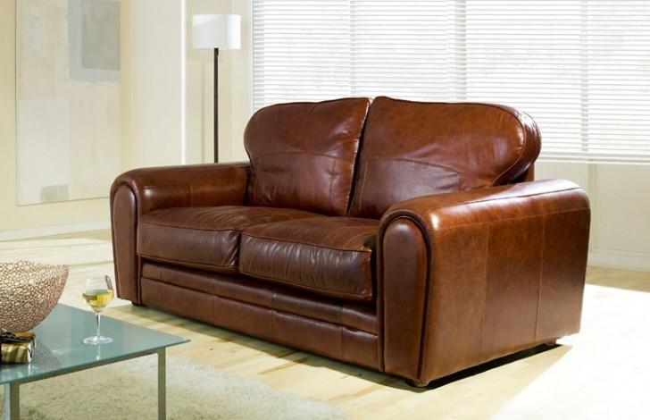 chicago chestnut leather sofa