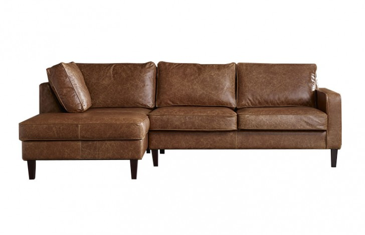 Drake leather chaise sofa leather sofas for Brown leather chaise sofa
