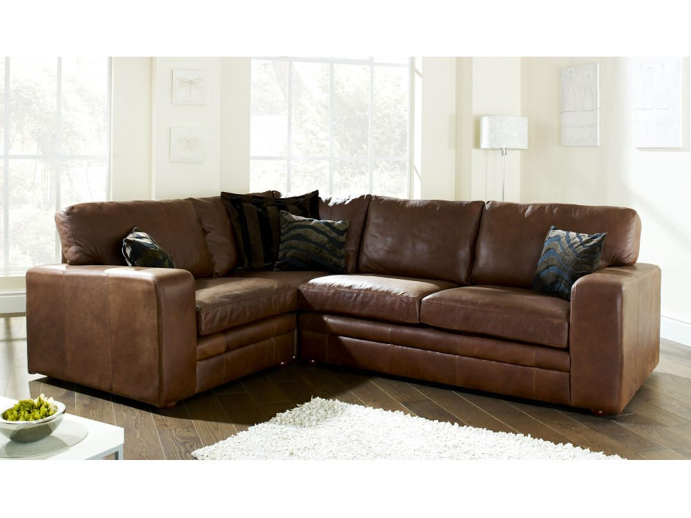 Brown leather corner sofa abbey the english sofa company for Furniture leather sofa