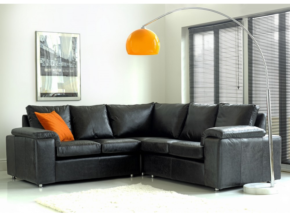 Black leather corner sofa sirocco living room sofas for Black corner sofa