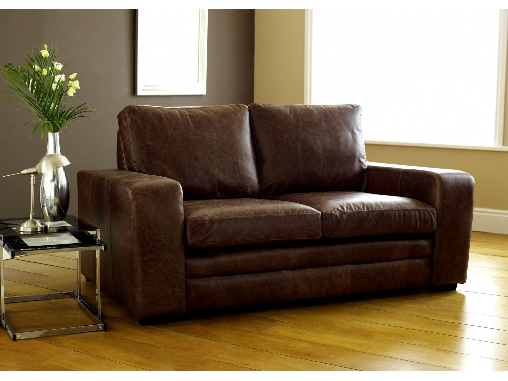 Brown modern leather sofabed leather sofa beds for Leather sectional sofa