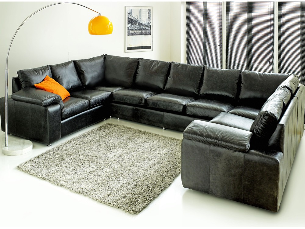 Sirocco Black Leather U Curved Sofa - Click to Zoom