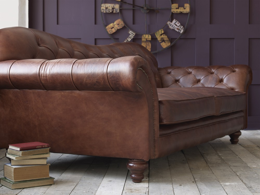 the crompton vintage brown leather chesterfield sofa. Black Bedroom Furniture Sets. Home Design Ideas