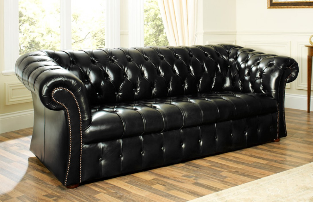 Becket Buttoned Leather Sofa Leather Chesterfield Sofas