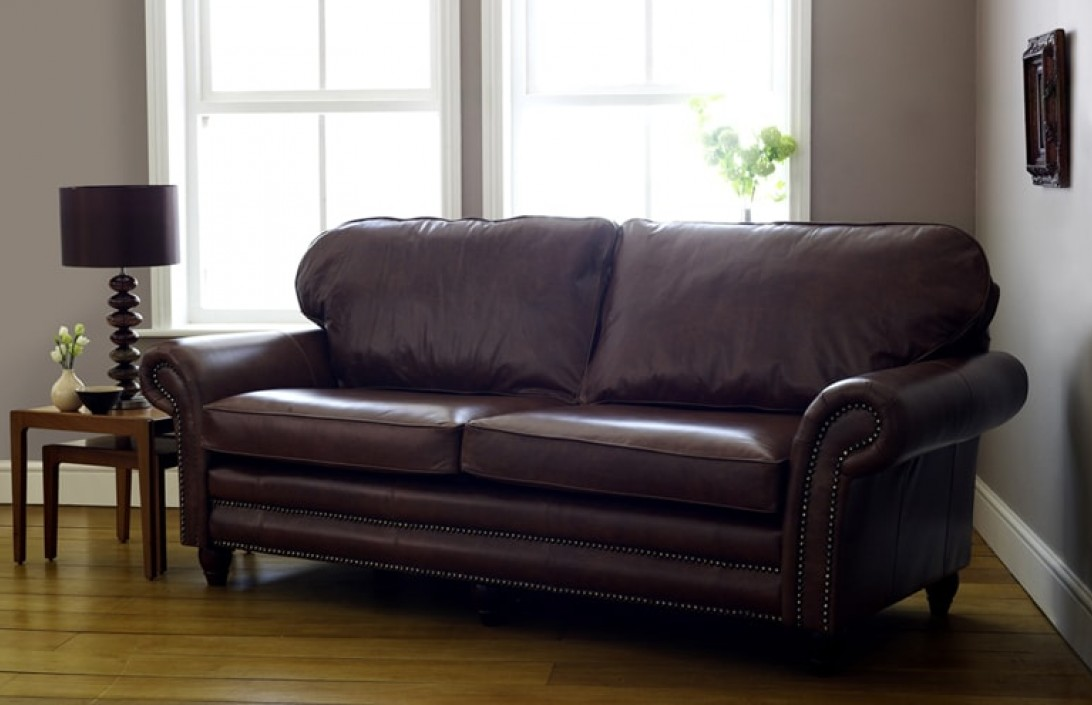 Cromwell leather sofa on legs leather sofas for Traditional sofas with legs