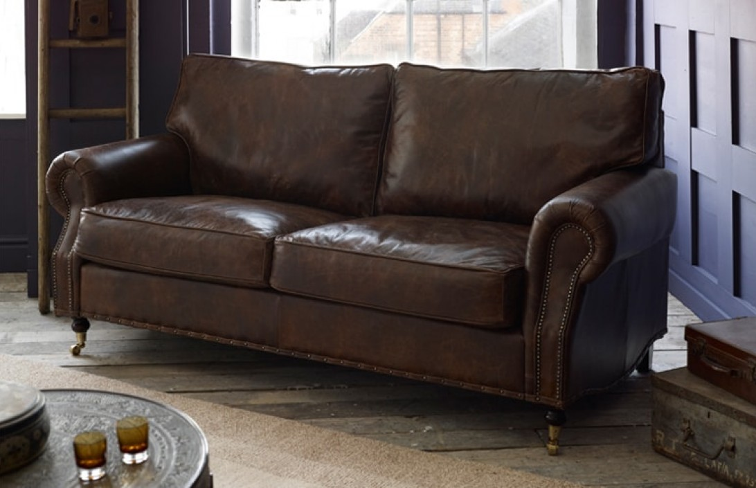 Arlington studded leather sofa leather sofas for Leather furniture