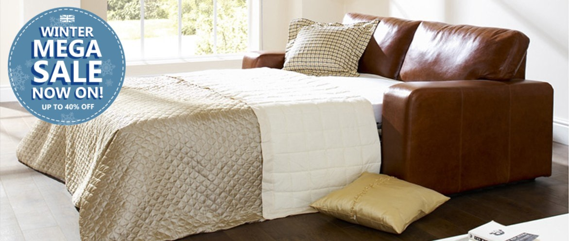 Abbey Leather Sofa Bed - Extended Winter Mega Sale Ends 31st Jan!