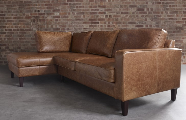 Drake Leather Chaise Sofa Left Hand Facing