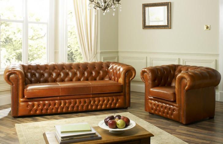 Cambridge Leather Chesterfield Sofa