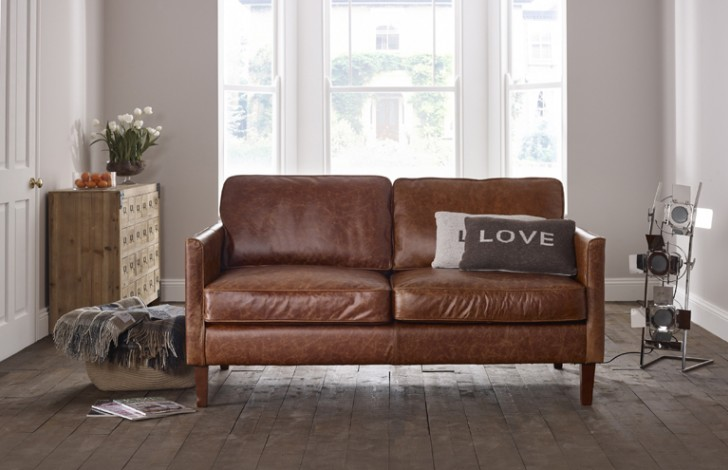 columbus small leather sofa U7ZRBCYW