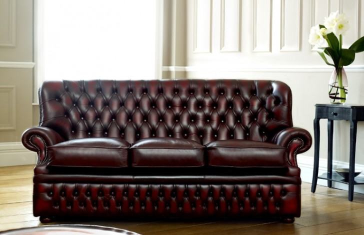 Monks Red Leather Chesterfield Leather Chesterfield Sofas