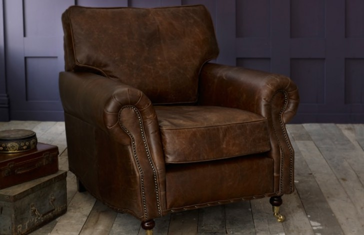 3 seater arlington studded leather sofa the english for Leather studded couch