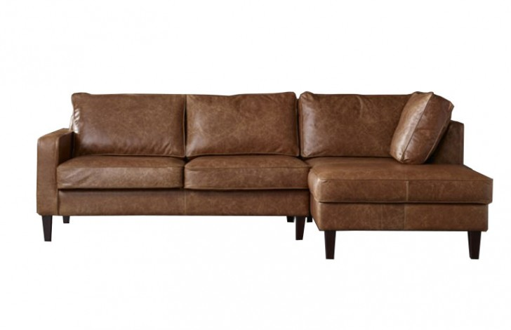 Drake Leather Chaise Sofa Right Hand Facing
