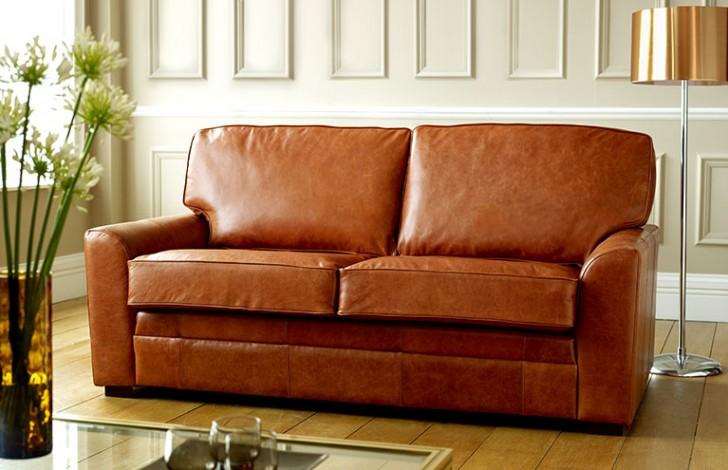 London Tan Leather Sofa