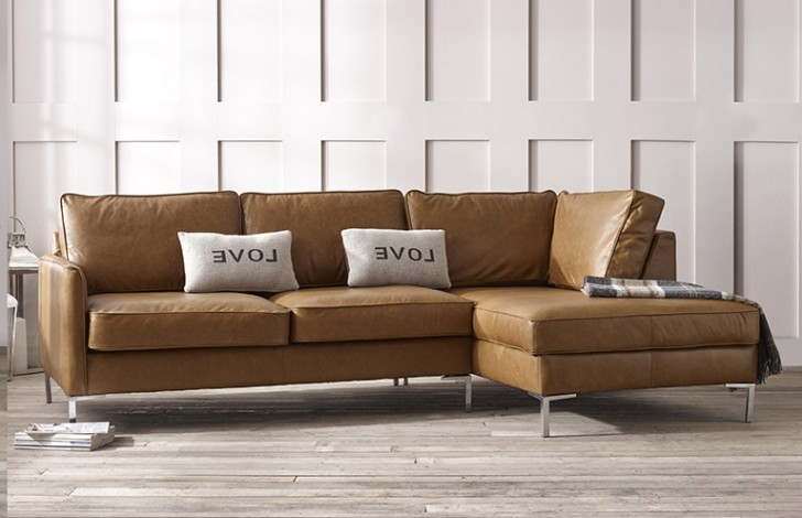 Columbus Right Hand Facing Leather Chaise