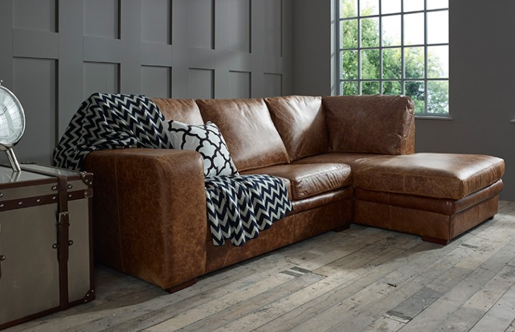 Abbey Leather Corner Chaise Right Hand Facing