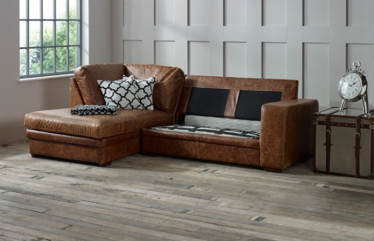 Abbey Leather Chaise Sofa Bed Left Hand Facing