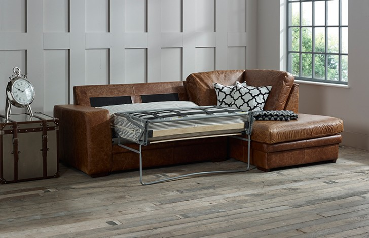 Abbey Leather Chaise Sofa Bed Right Hand Facing
