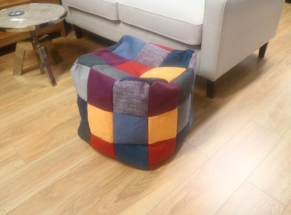 Patchwork Fabric Cube Stool