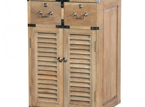 Weathered Oak 2 Drawer Louvred Cabinet