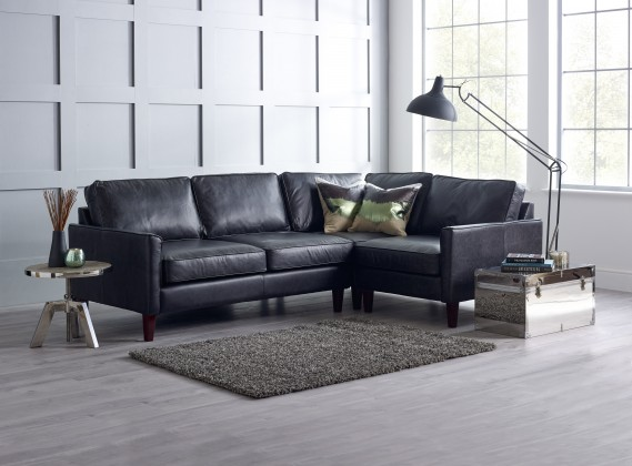Columbus Black Leather Corner Sofa