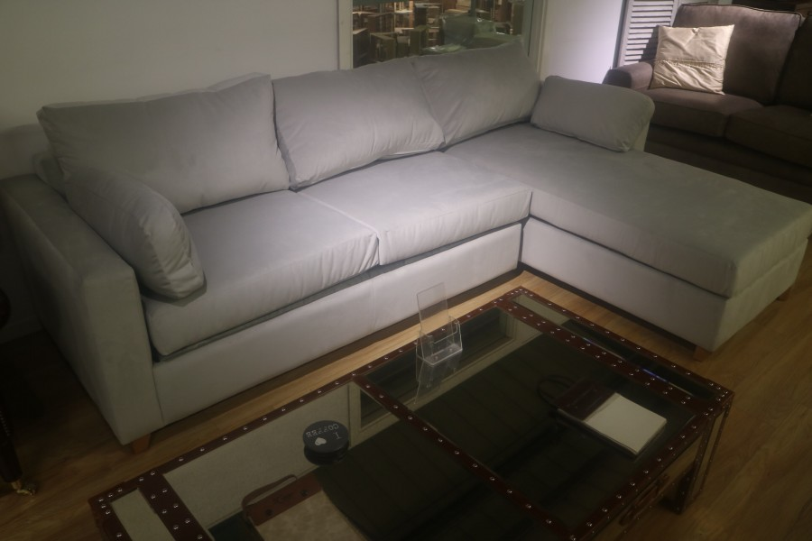 3str Sofa Bed x RHF Storage Chaise - Silver