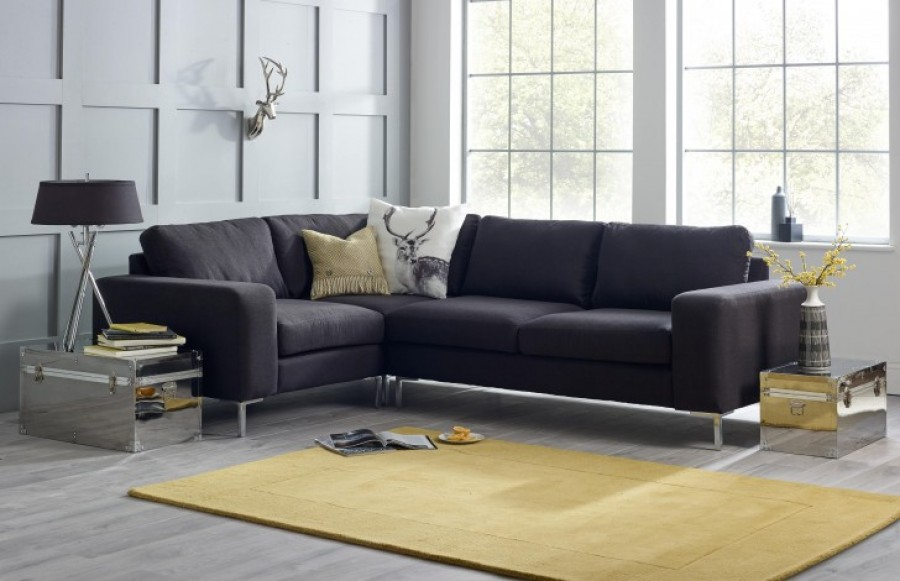 Wellington Charcoal Corner Sofa - 3 x 1.5str Corner Sofa - Ebony