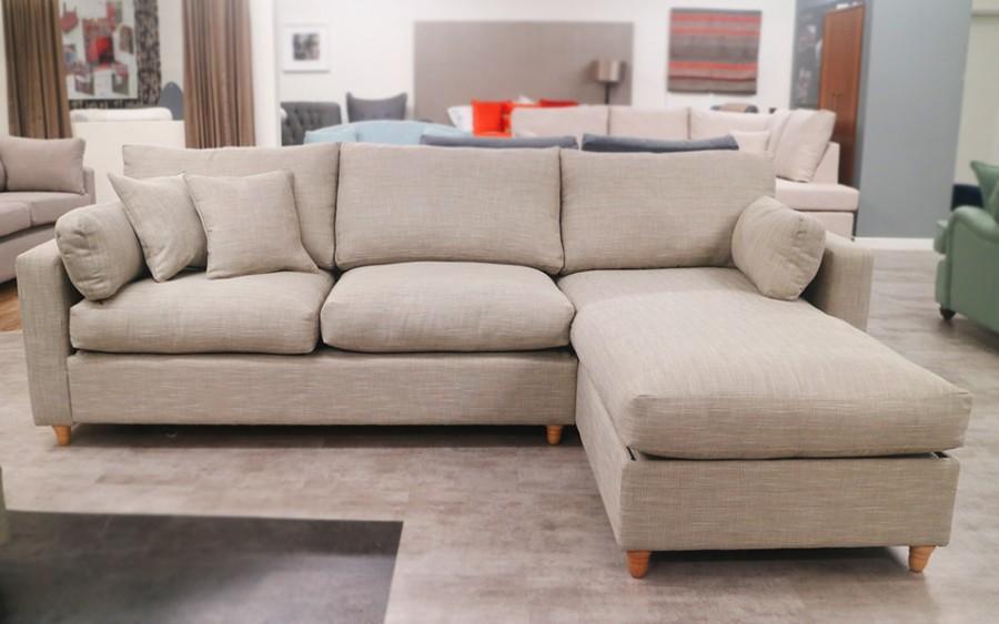 3str Sofa Bed x RHF Storage Chaise - Ancona Silver