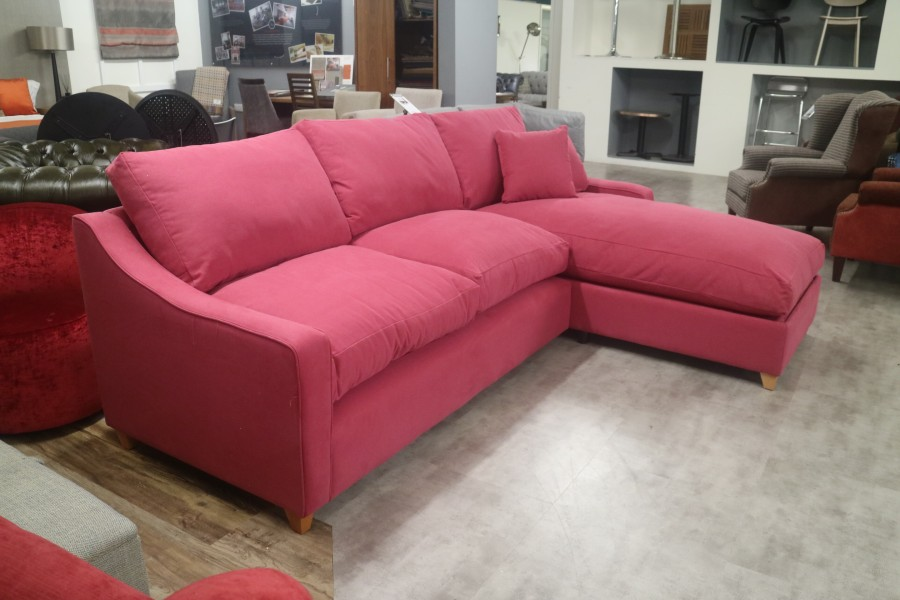 Chaise Storage Sofa - 3 x RHF Chaise - Whitewell Rasberry Jam