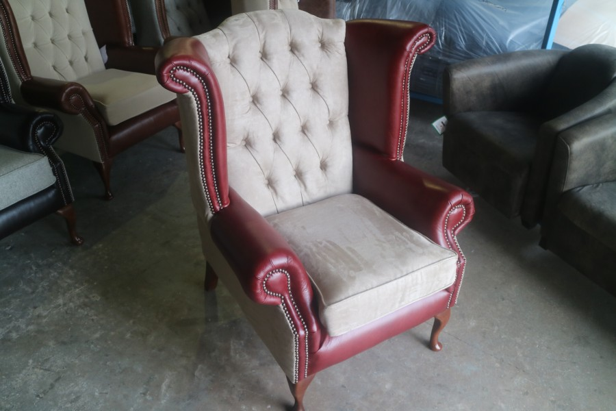 Luxury Queen Anne Wing Chair - Chair - Fabric BEIGE SUEDE & Leather VINTAGE MAHOGANY