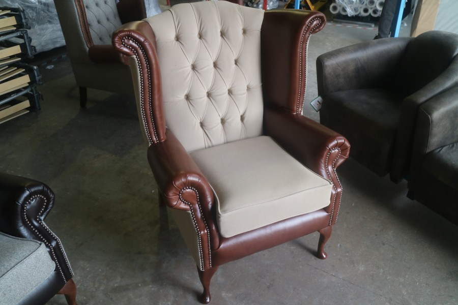 Luxury Queen Anne Wing Chair - Fabric MOON DEEPDALE MUSHROOM & Leather VINTAGE CHOCOLATE