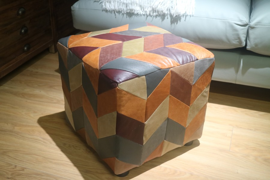 Patchwork Leather Stool - Patchwork Leather Stool - Patchwork Leather
