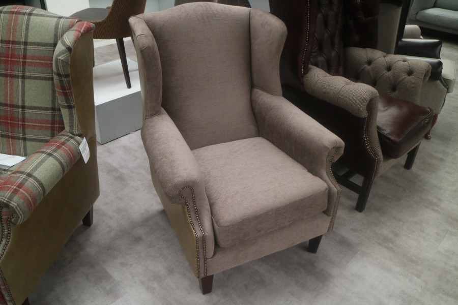 Ella Wing Chair - Chair - Olive Leather/Beige Fabric Mix