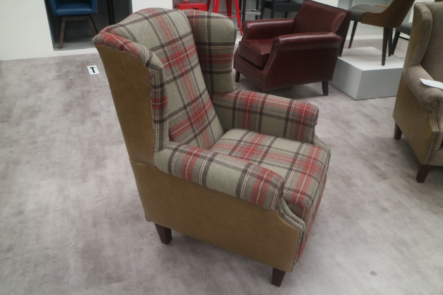 Ella Wing Chair - Chair - Leather fabric mix ella plaid