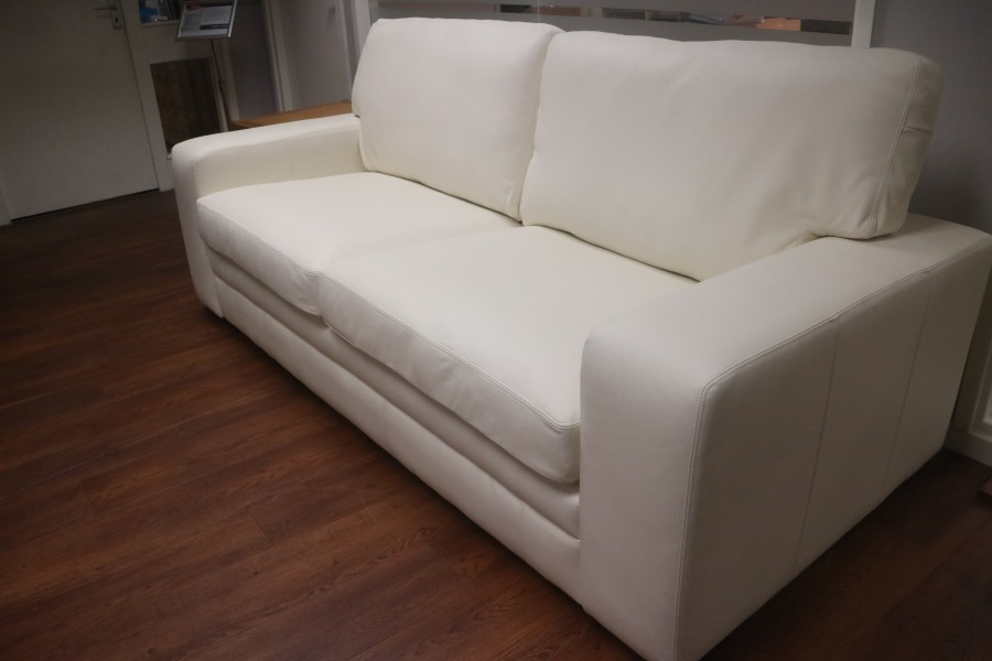 Abbey Leather Sofa - 3.5 Seater - Shelly Winter White