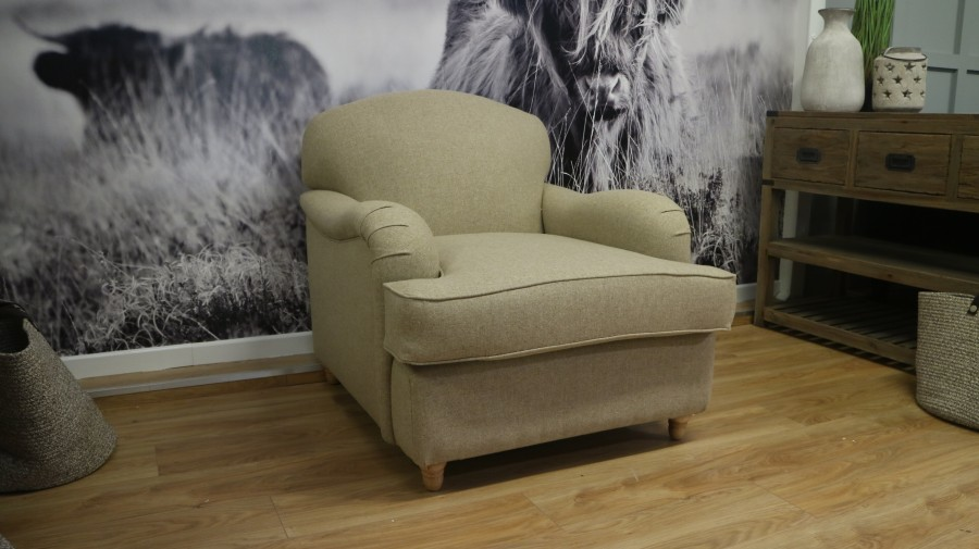 Appledoe Fabric 3 Seater sofabed + Chair - Both with arm caps - Abraham & Moon Deepdale Natural