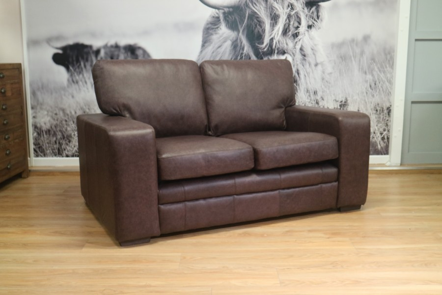 Abbey Leather Sofa - 2 Seater - Coffee