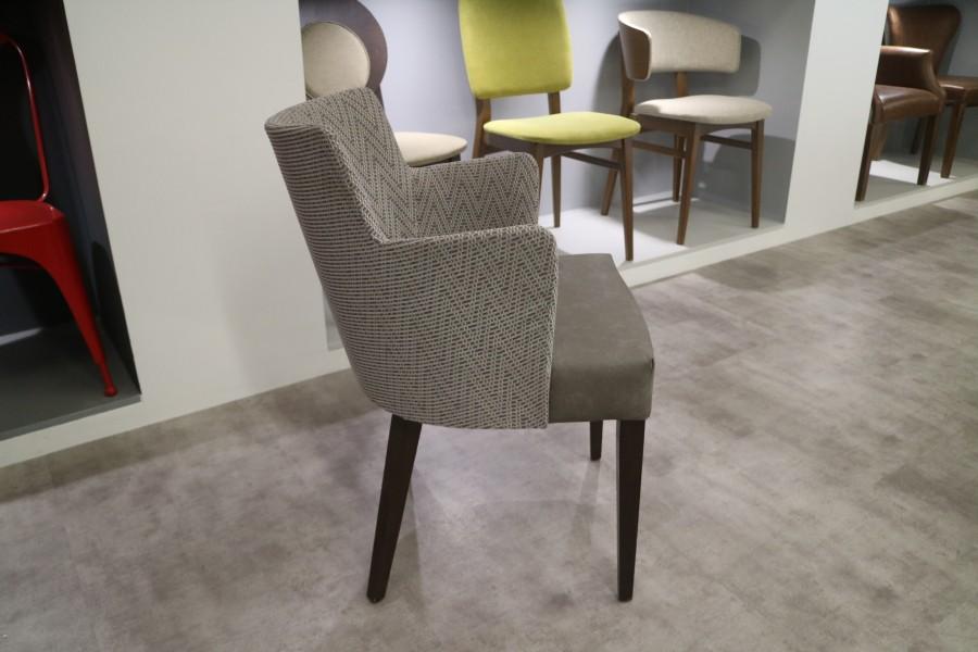 Antonia Arm Chair - Skopos Fabric, Faux Grey Leather