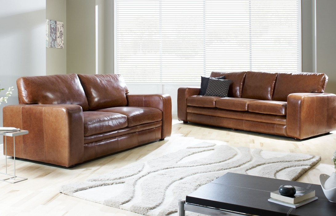 4 Seater Abbey Leather Sofa Leather Sofas