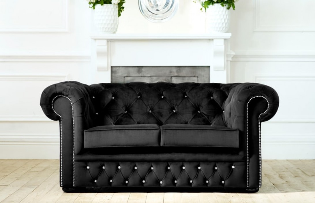 diamante velvet chesterfield fabric chesterfield sofas. Black Bedroom Furniture Sets. Home Design Ideas