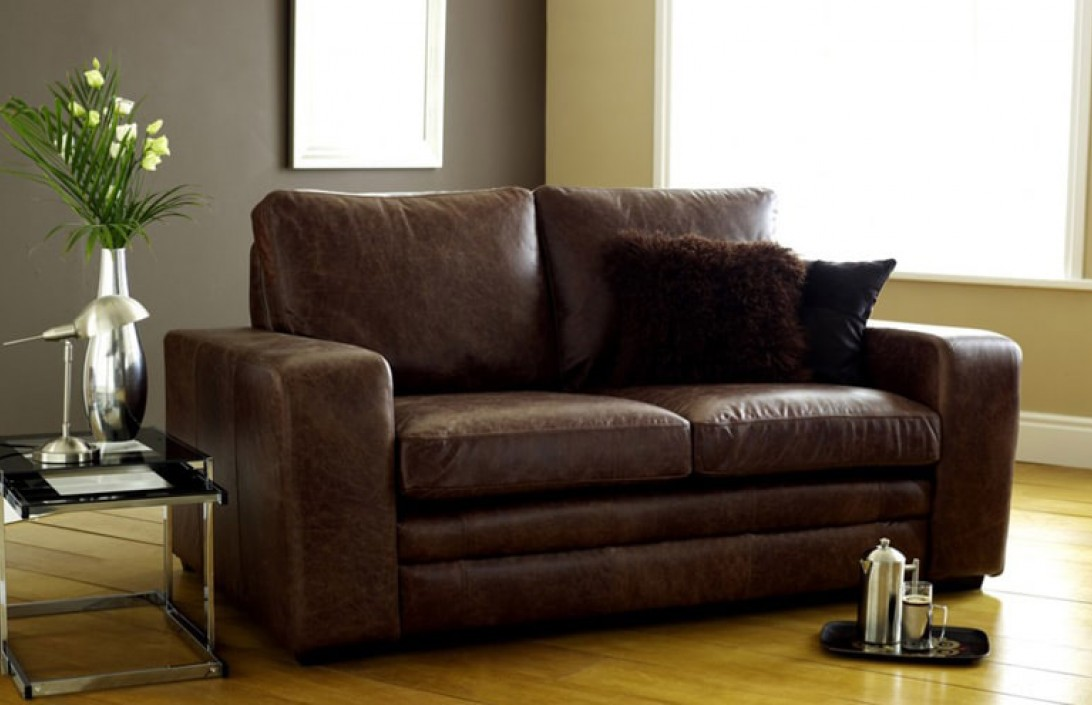 3 seater sofa bed brown modern leather sofabed leather for Leather sofa bed