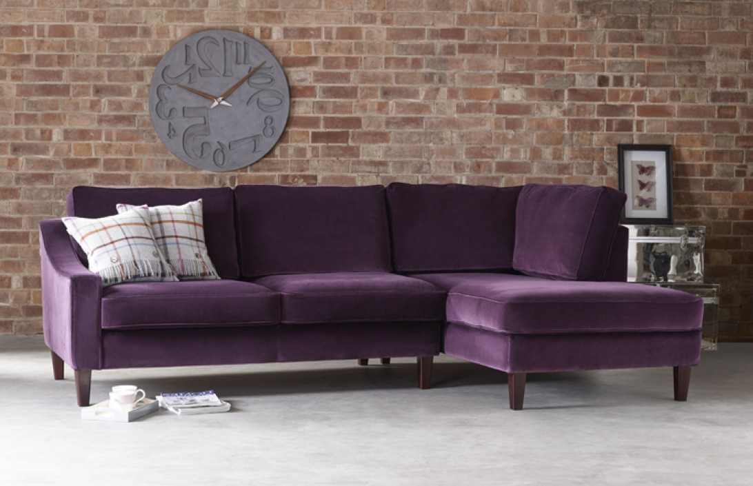 Hilary Contemporary Chaise Sofa Fabric Corner Sofas