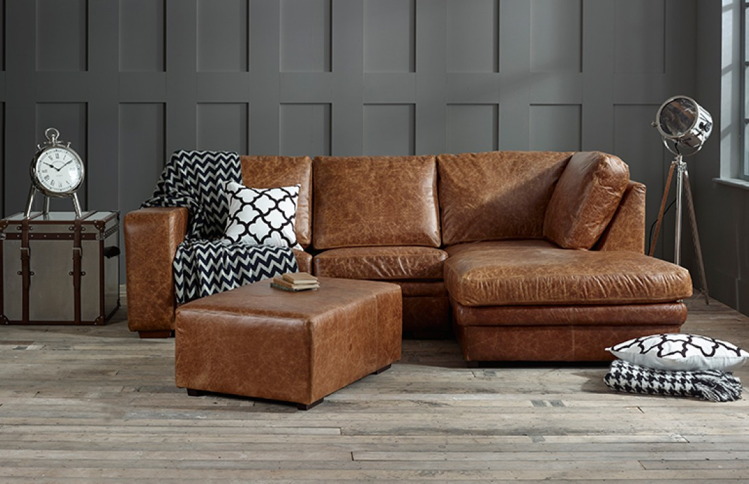 Abbey Leather Chaise Sofa Bed Right Hand Facing Corner