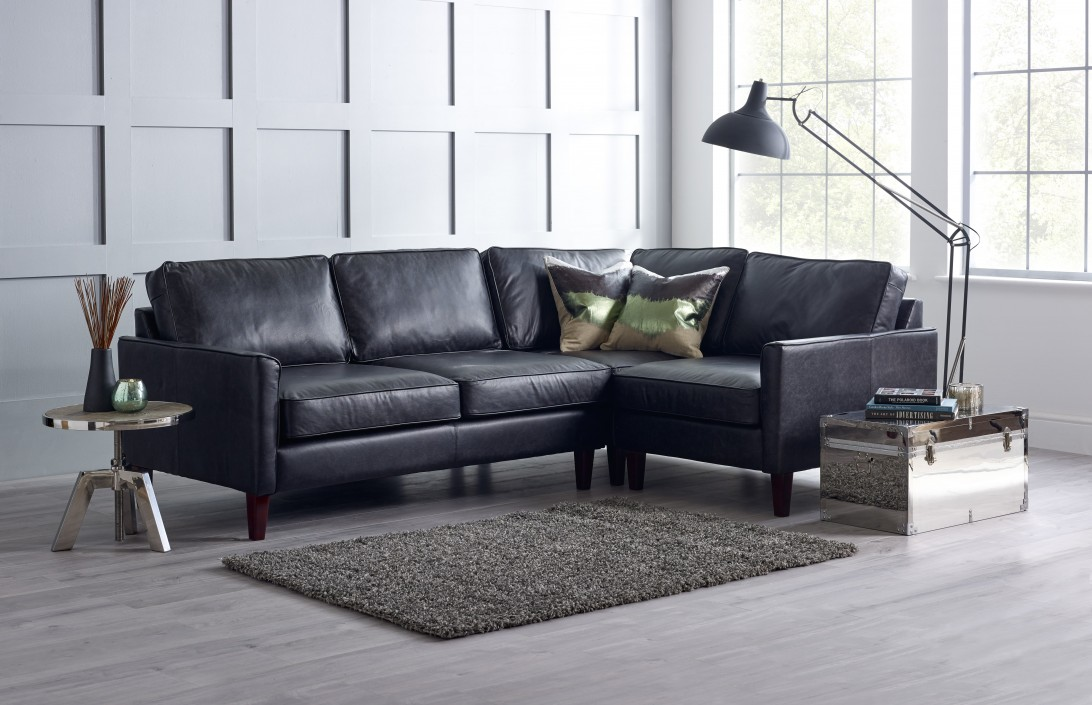 3 x 1 5 seater corner sofa columbus black leather corner for Black corner sofa