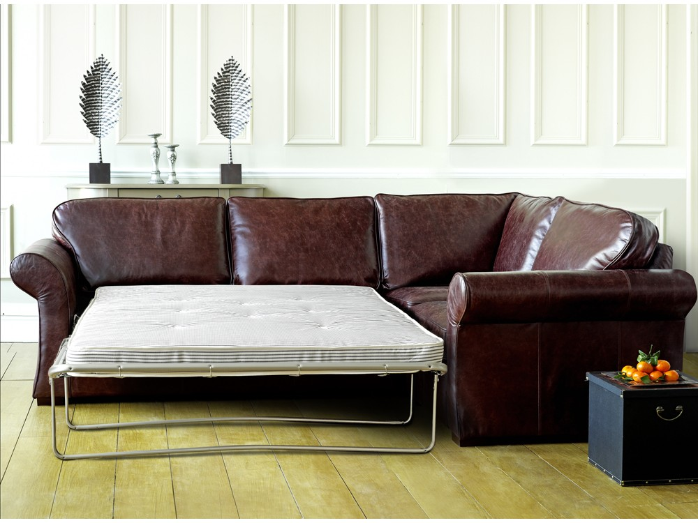 Chatsworth leather corner sofa bed for Leather corner sofa beds uk