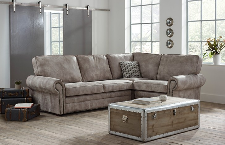 Portland Contemporary Leather Chaise Sofa (Shown in Tribe Light Sand Leather)