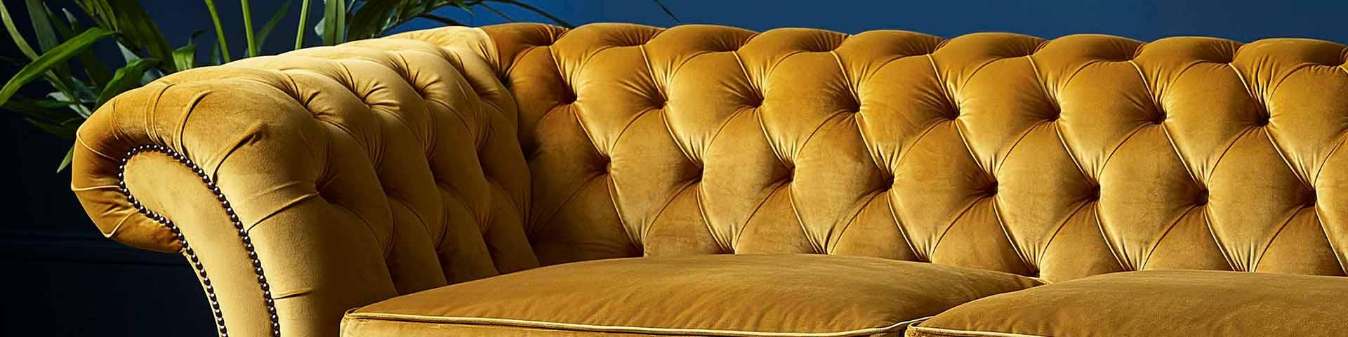 Mustard Velvet Fabric Chesterfield