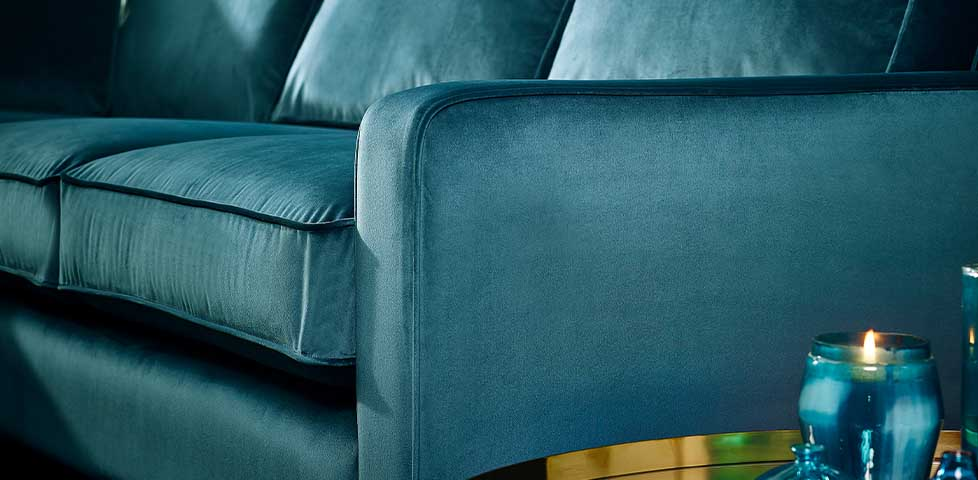 Teal Velvet Fabric Sofa Modern